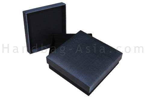 Charcoal grey silk box with black base