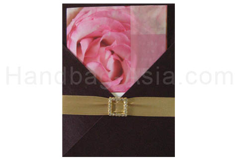 dark brown silk invitation holder