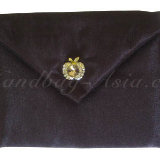 silk envelope with apple rhinestone button