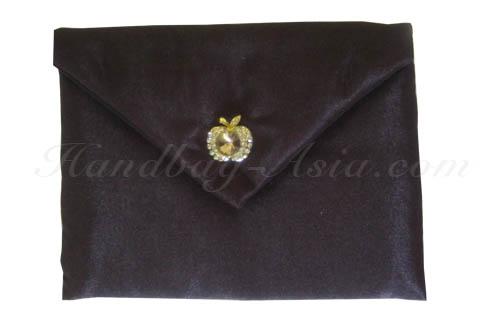 silk envelope with apple rhinestone button