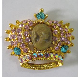 Golden crystal crown brooch