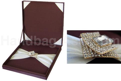 Chocolate Brown Silk Wedding Invitation Box With Removal ...
