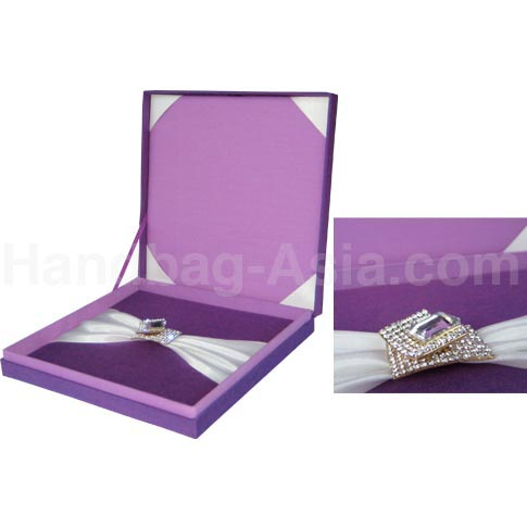Luxury lavender silk wedding box with ivory accents