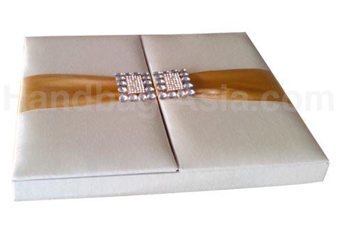 luxury wedding invitation box in ivory with golden ribbon - Wedding Invitation Boxes