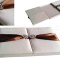 white wedding invitation box with gatefold design