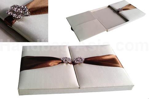 white wedding invitation box with gatefold design