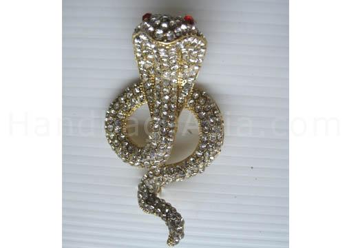 cobra rhinestone brooch