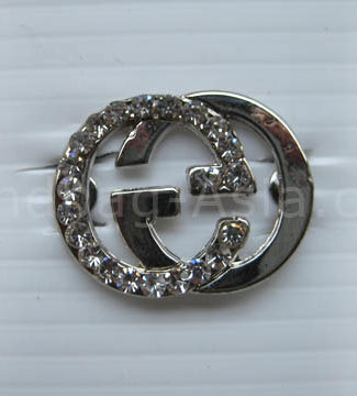 silver crystal brooch with rhinestones