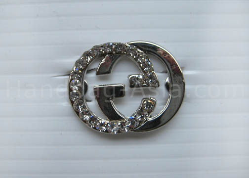silver crystal brooch with rhinestones