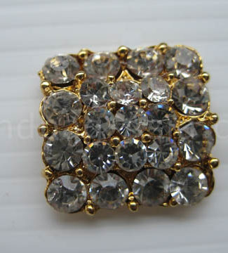 square golden rhinestone button