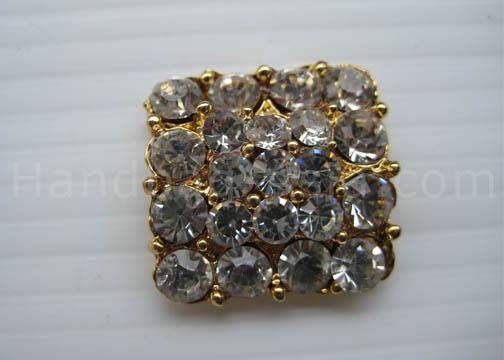 square golden rhinestone button