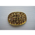 oval rhinestone button in gold