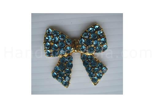 golden crystal brooch with aqua rhinestones