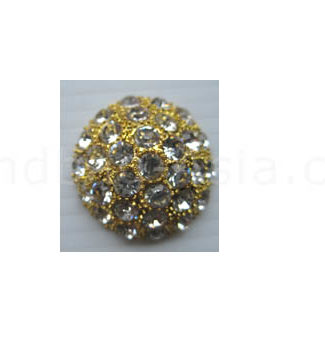 rhinestone button in gold with clear stones