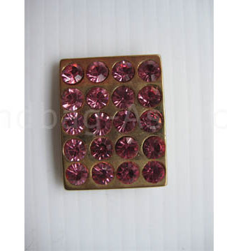 Flat Gold Plated Rectangular Rhinestone Button