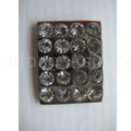silver rectangle crystal button