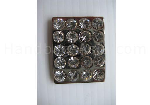 silver rectangle crystal button