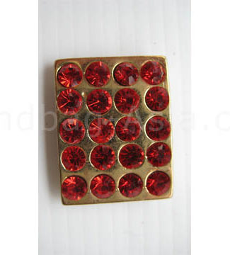 rectangle gold crystal button with red stones