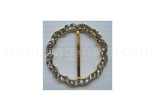 Golden round flower rhinestone buckle