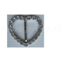silver heart crystal buckle