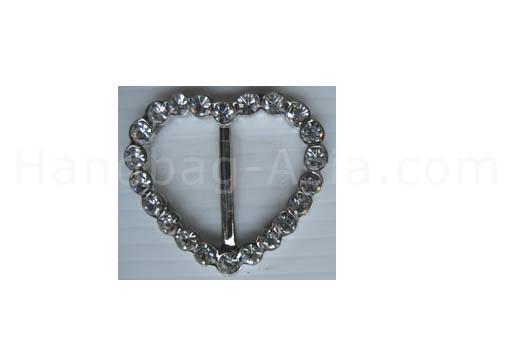 silver heart crystal buckle