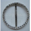 Large round silver plated rhinestone buckle