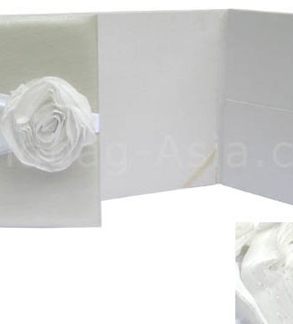 Luxury ivory and white wedding portfolio with pockets and textile flower embellishment