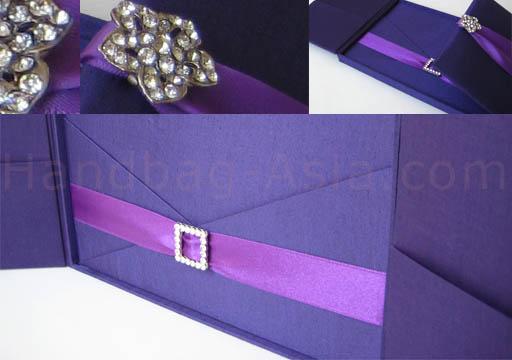 Boxed couture wedding invitation purple color theme