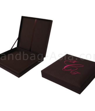 Monogram embroidered wedding box for invitation cards