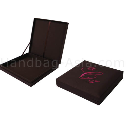 Monogram embroidered wedding box for invitation cards