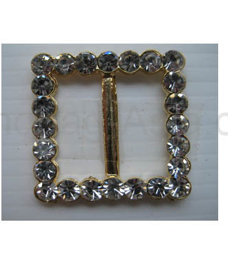 golden square buckle with rhinestones