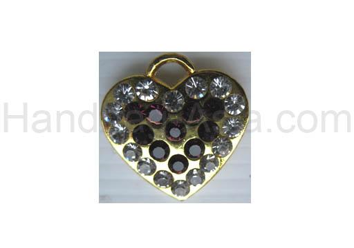 golden rhinestone heart hanger