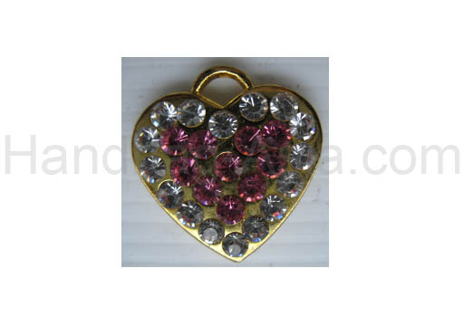 Gold plated rhinestone crystal heart