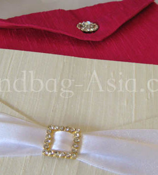 wedding envelope with silk pad and rhinestone embellishment