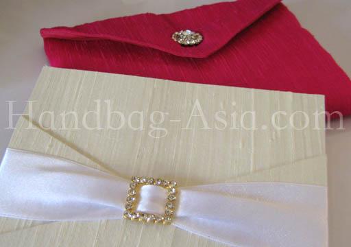 wedding envelope with silk pad and rhinestone embellishment