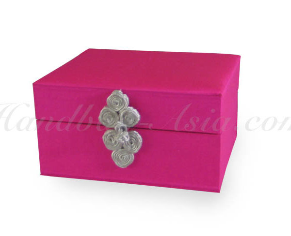 fuchsia pink silk jewellery and gift box with hinged lid