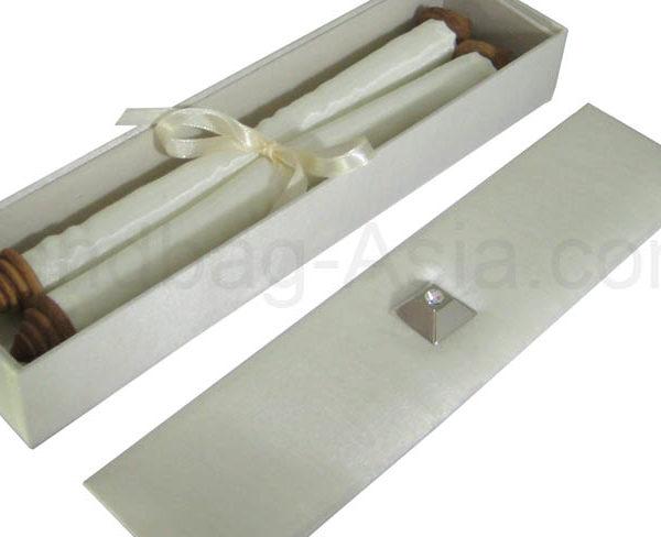scroll invitation with silk box
