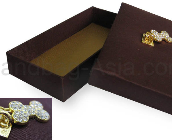 brown silk gift box with rhinestone crystal hanger