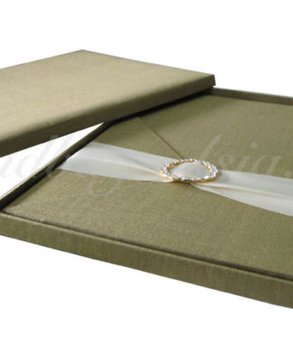 Luxury Golden Couture Wedding Box With Removable Silk Card Featuring Rhinestone Buckle