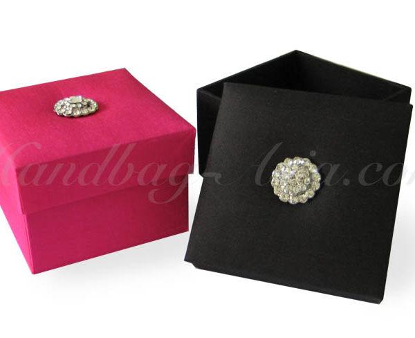 Pink and black wedding favor box