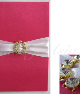 Embellished silk covered card holder with golden rhinestone buckle