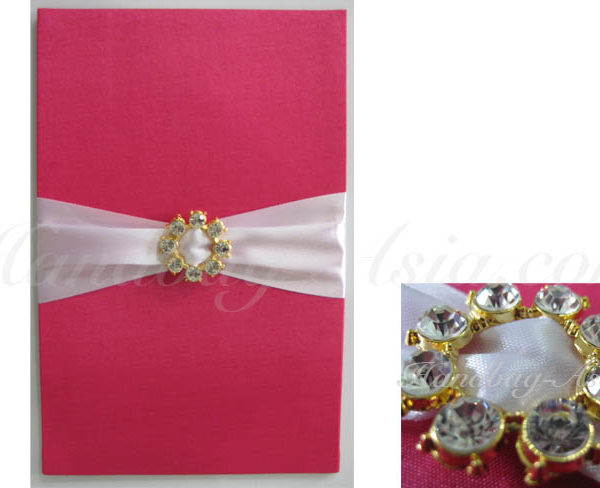 Embellished silk covered card holder with golden rhinestone buckle