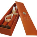 orange silk box with scroll invitation