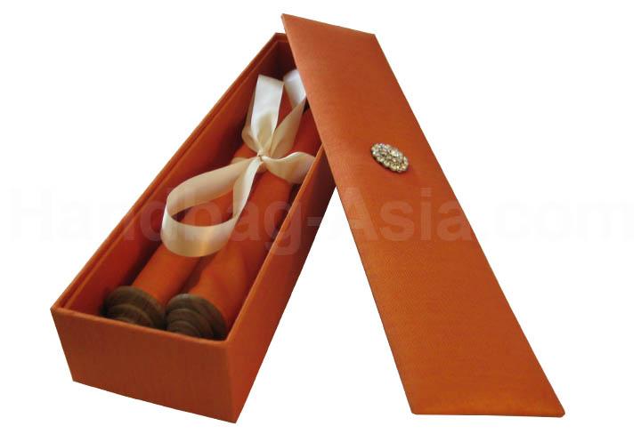 orange silk box with scroll invitation - Wedding Scroll Invitations
