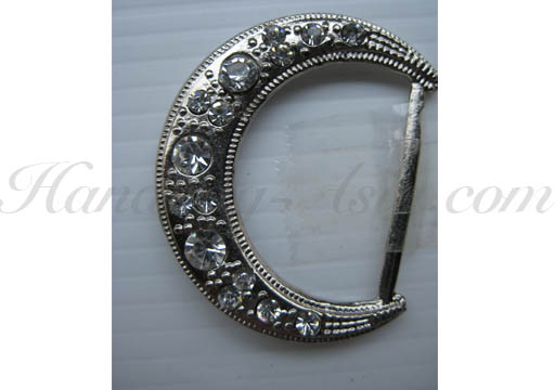 moon buckle with crystal in silver