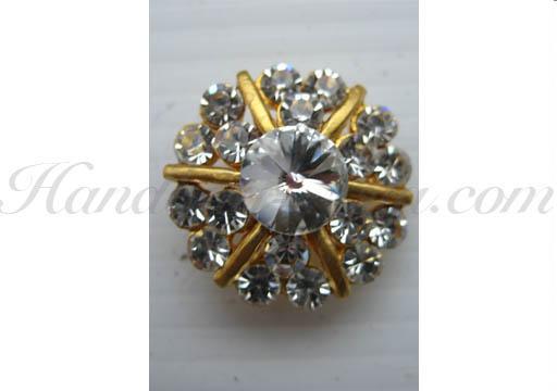 golden star rhinestone button