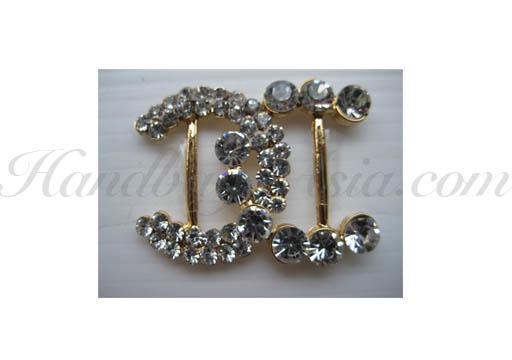 chanel style rhinestone buckle in gold