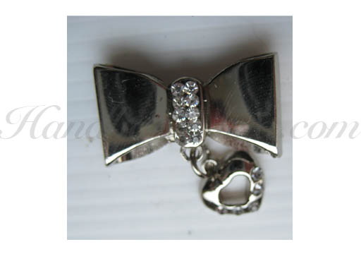 silver bow with heart hanger
