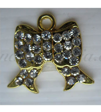 Small golden rhinestone bow