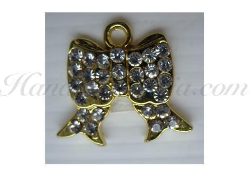 Small golden rhinestone bow